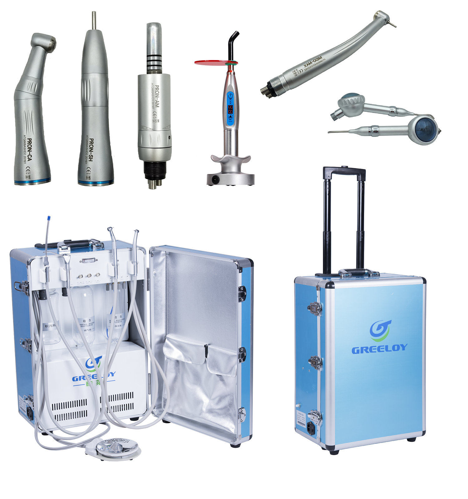 Greeloy® GU-P204 Mobile Dentaleinheit + Handstück Satz + Polymerisationslampe + Multifunktionsspritze Dental
